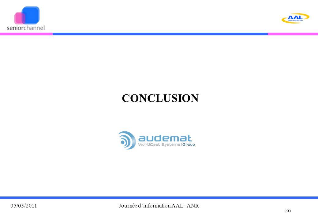 CONCLUSION 26 05/05/2011Journée d'information AAL - ANR