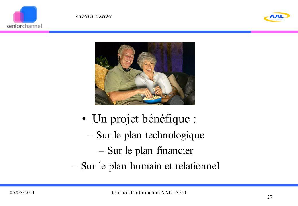 CONCLUSION Un projet bénéfique : –Sur le plan technologique –Sur le plan financier –Sur le plan humain et relationnel 27 05/05/2011Journée d'information AAL - ANR