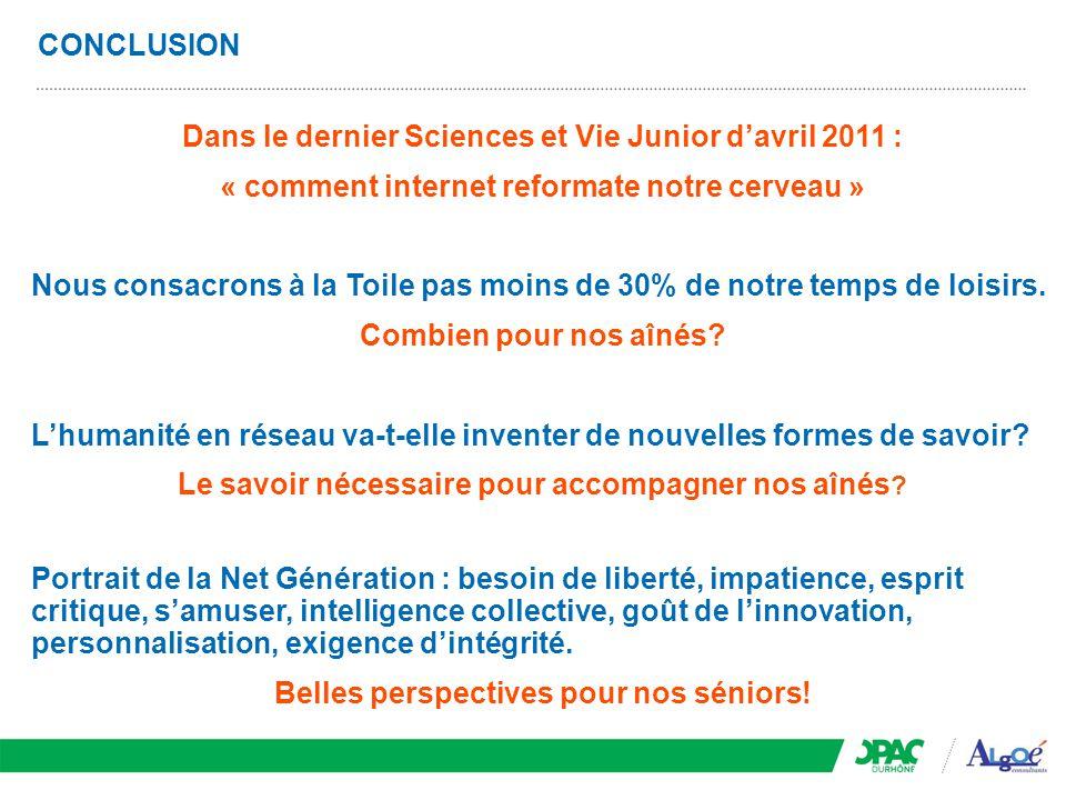 CONCLUSION Dans le dernier Sciences et Vie Junior d'avril 2011 : « comment internet reformate notre cerveau » Nous consacrons à la Toile pas moins de