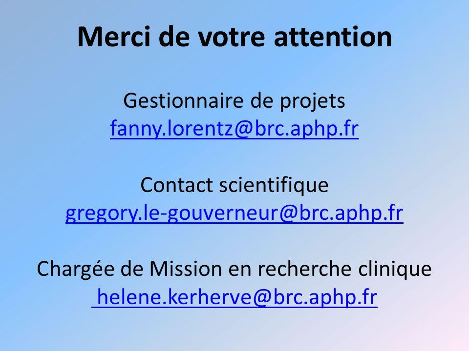 Merci de votre attention Gestionnaire de projets fanny.lorentz@brc.aphp.fr Contact scientifique gregory.le-gouverneur@brc.aphp.fr Chargée de Mission en recherche clinique helene.kerherve@brc.aphp.fr fanny.lorentz@brc.aphp.fr gregory.le-gouverneur@brc.aphp.fr helene.kerherve@brc.aphp.fr