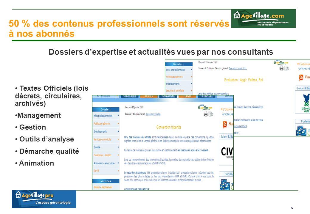 10 50 % des contenus professionnels sont réservés à nos abonnés Dossiers d'expertise et actualités vues par nos consultants Textes Officiels (lois déc
