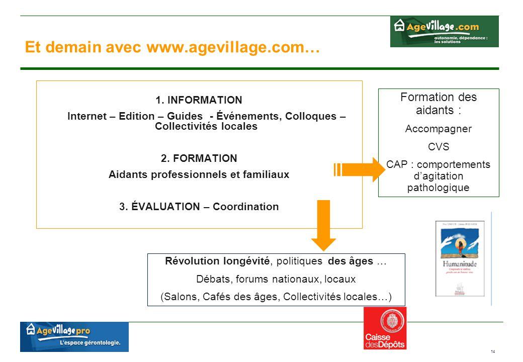14 Et demain avec www.agevillage.com… 1. INFORMATION Internet – Edition – Guides - Événements, Colloques – Collectivités locales 2. FORMATION Aidants
