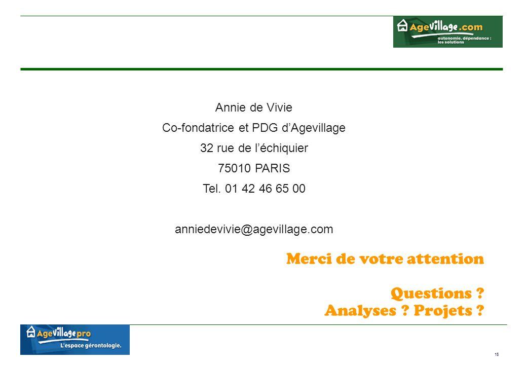 15 Annie de Vivie Co-fondatrice et PDG d'Agevillage 32 rue de l'échiquier 75010 PARIS Tel. 01 42 46 65 00 anniedevivie@agevillage.com Merci de votre a