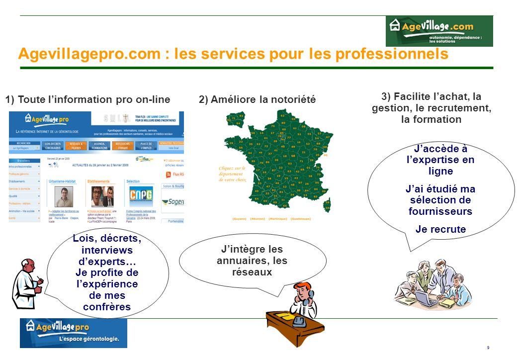 9 Agevillagepro.com : les services pour les professionnels Lois, décrets, interviews d'experts… Je profite de l'expérience de mes confrères J'intègre