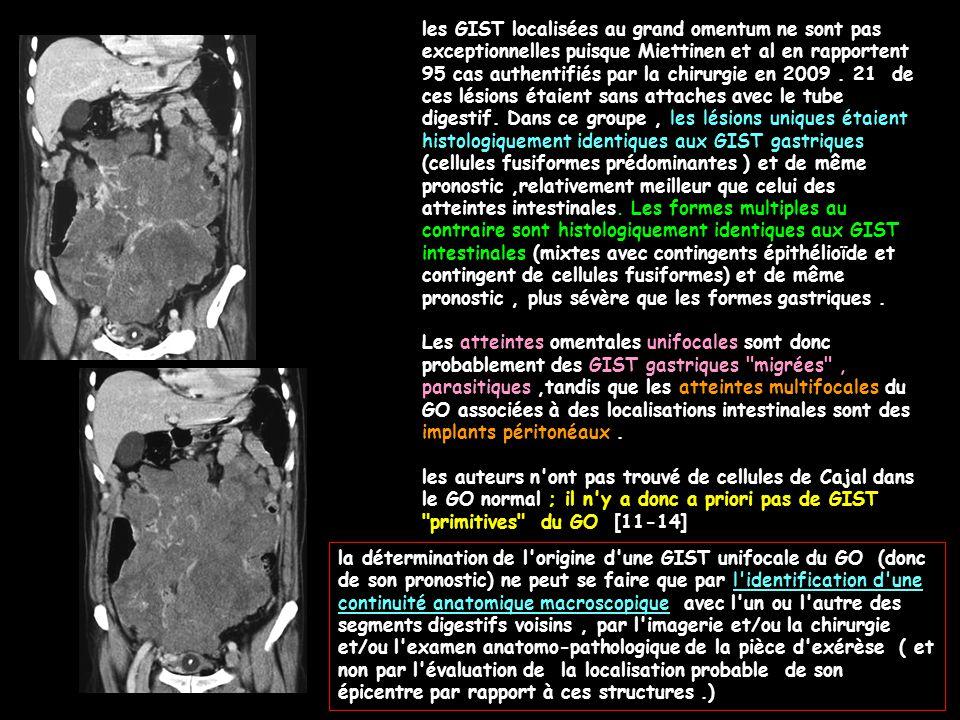 les GIST localisées au grand omentum ne sont pas exceptionnelles puisque Miettinen et al en rapportent 95 cas authentifiés par la chirurgie en 2009. 2