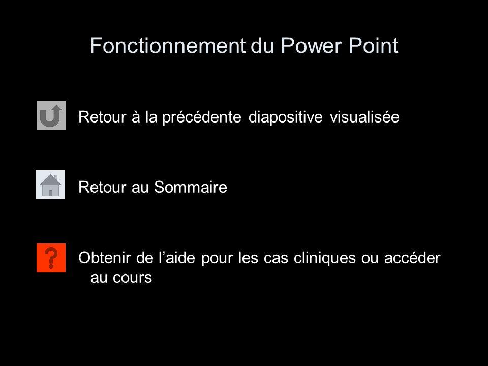 Fonctionnement du Power Point Retour à la précédente diapositive visualisée Retour au Sommaire Obtenir de l'aide pour les cas cliniques ou accéder au
