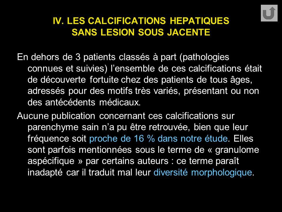 IV. LES CALCIFICATIONS HEPATIQUES SANS LESION SOUS JACENTE En dehors de 3 patients classés à part (pathologies connues et suivies) l'ensemble de ces c