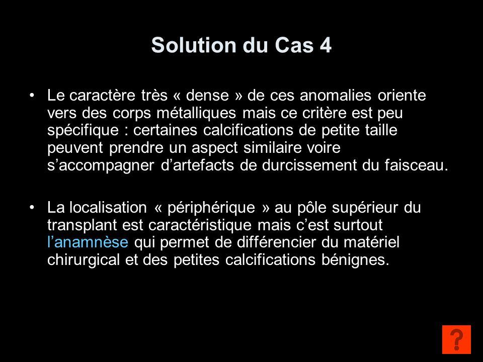 Solution du Cas 4 Le caractère très « dense » de ces anomalies oriente vers des corps métalliques mais ce critère est peu spécifique : certaines calci