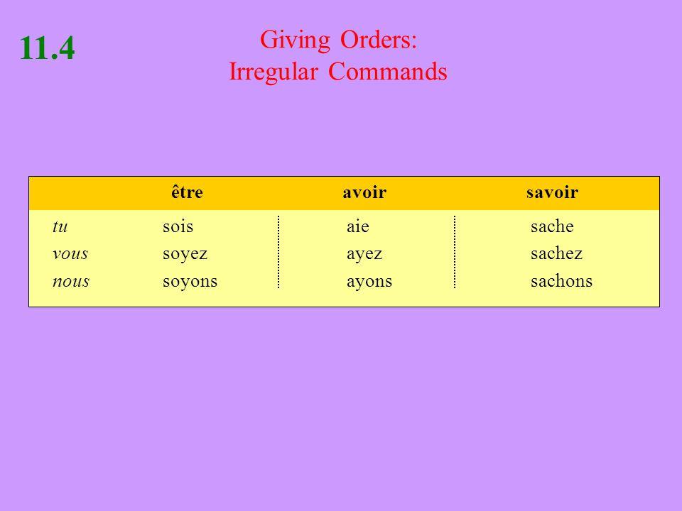Giving Orders: Irregular Commands 11.4 tusoisaiesache voussoyezayezsachez noussoyonsayonssachons êtreavoirsavoir