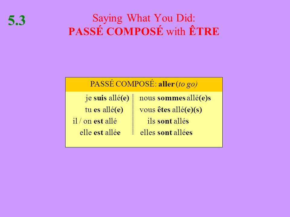 Saying What You Did: PASSÉ COMPOSÉ with ÊTRE 5.3 jesuis allé(e)noussommes allé(e)s tues allé(e)vousêtes allé(e)(s) il / onest alléilssont allés elleest alléeellessont allées PASSÉ COMPOSÉ: aller (to go)