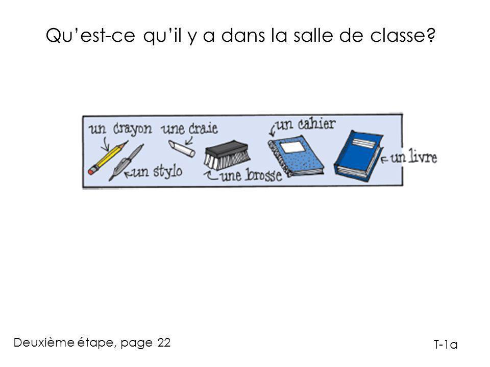 Qu'est-ce qu'il y a dans la salle de classe? Deuxième étape, page 22 T-1b