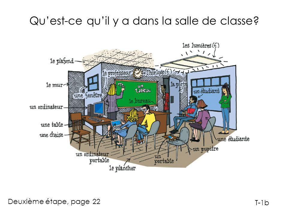 Qu'est-ce qu'il y a dans la salle de classe Deuxième étape, page 22 T-1b