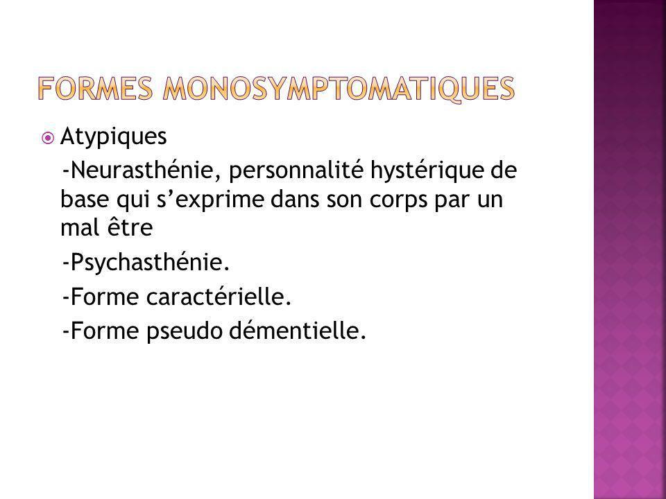  Atypiques -Neurasthénie, personnalité hystérique de base qui s'exprime dans son corps par un mal être -Psychasthénie. -Forme caractérielle. -Forme p