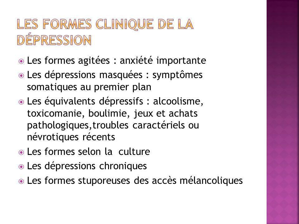  Les formes agitées : anxiété importante  Les dépressions masquées : symptômes somatiques au premier plan  Les équivalents dépressifs : alcoolisme,