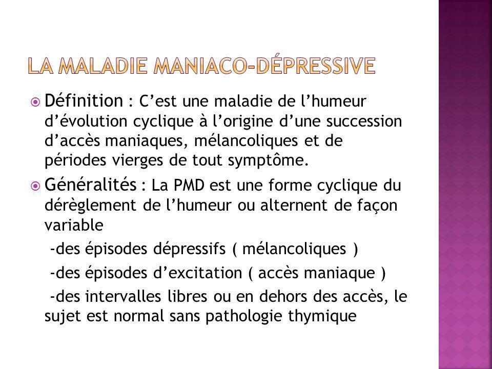  Définition : C'est une maladie de l'humeur d'évolution cyclique à l'origine d'une succession d'accès maniaques, mélancoliques et de périodes vierges de tout symptôme.