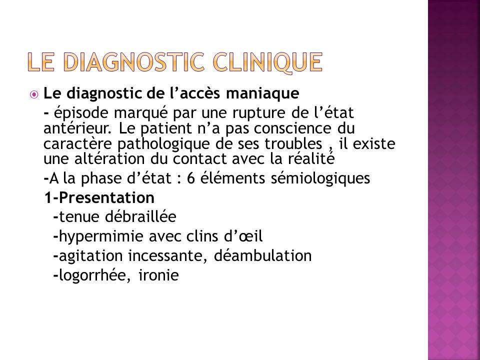  Le diagnostic de l'accès maniaque - épisode marqué par une rupture de l'état antérieur. Le patient n'a pas conscience du caractère pathologique de s