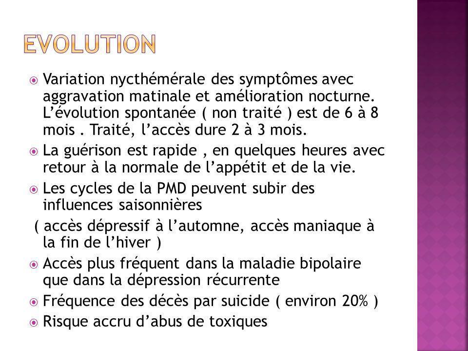  Variation nycthémérale des symptômes avec aggravation matinale et amélioration nocturne.