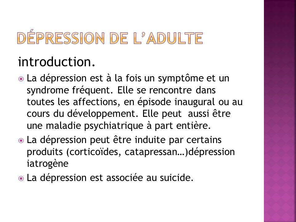 introduction.  La dépression est à la fois un symptôme et un syndrome fréquent. Elle se rencontre dans toutes les affections, en épisode inaugural ou