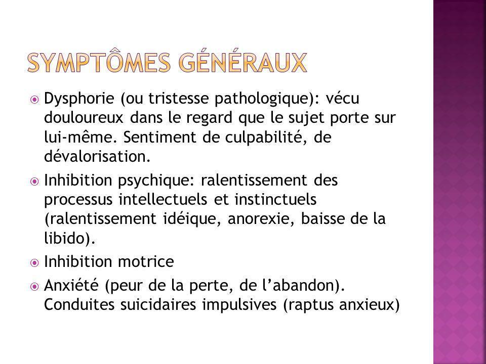  Dysphorie (ou tristesse pathologique): vécu douloureux dans le regard que le sujet porte sur lui-même. Sentiment de culpabilité, de dévalorisation.
