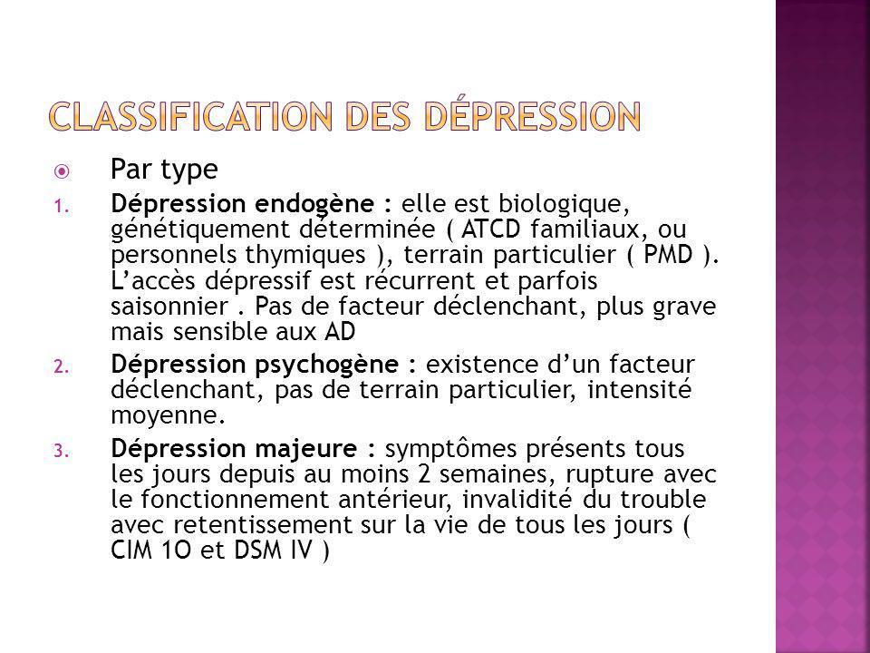  Par type 1. Dépression endogène : elle est biologique, génétiquement déterminée ( ATCD familiaux, ou personnels thymiques ), terrain particulier ( P