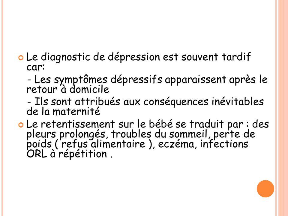Le diagnostic de dépression est souvent tardif car: - Les symptômes dépressifs apparaissent après le retour à domicile - Ils sont attribués aux conséq