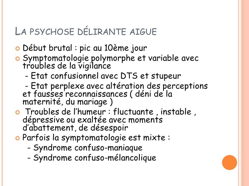 L A PSYCHOSE DÉLIRANTE AIGUE Début brutal : pic au 10ème jour Symptomatologie polymorphe et variable avec troubles de la vigilance - Etat confusionnel