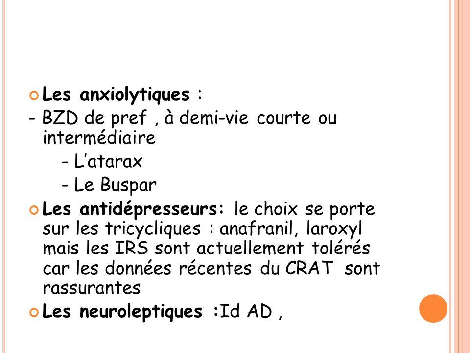 Les anxiolytiques : - BZD de pref, à demi-vie courte ou intermédiaire - L'atarax - Le Buspar Les antidépresseurs: le choix se porte sur les tricycliques : anafranil, laroxyl mais les IRS sont actuellement tolérés car les données récentes du CRAT sont rassurantes Les neuroleptiques :Id AD,