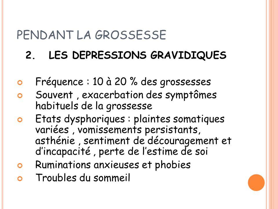 PENDANT LA GROSSESSE 2. LES DEPRESSIONS GRAVIDIQUES Fréquence : 10 à 20 % des grossesses Souvent, exacerbation des symptômes habituels de la grossesse