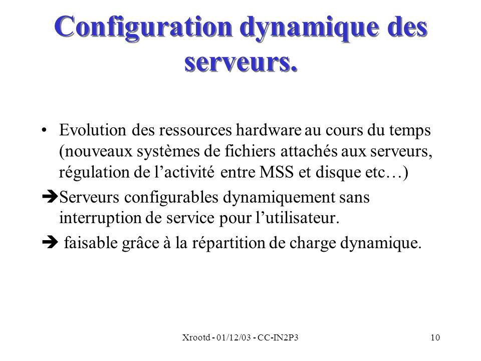 Xrootd - 01/12/03 - CC-IN2P310 Configuration dynamique des serveurs.