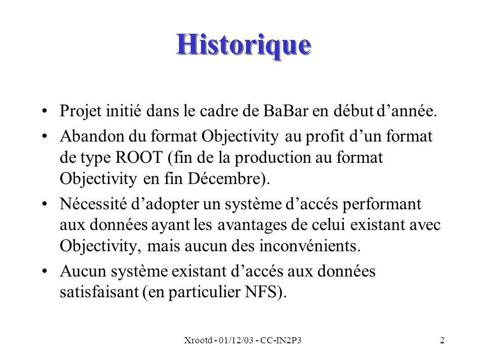 Xrootd - 01/12/03 - CC-IN2P32 Historique Projet initié dans le cadre de BaBar en début d'année.