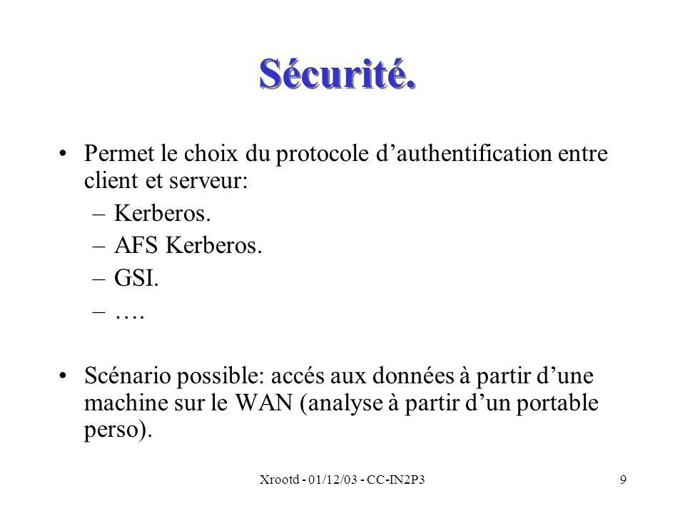 Xrootd - 01/12/03 - CC-IN2P39 Sécurité.