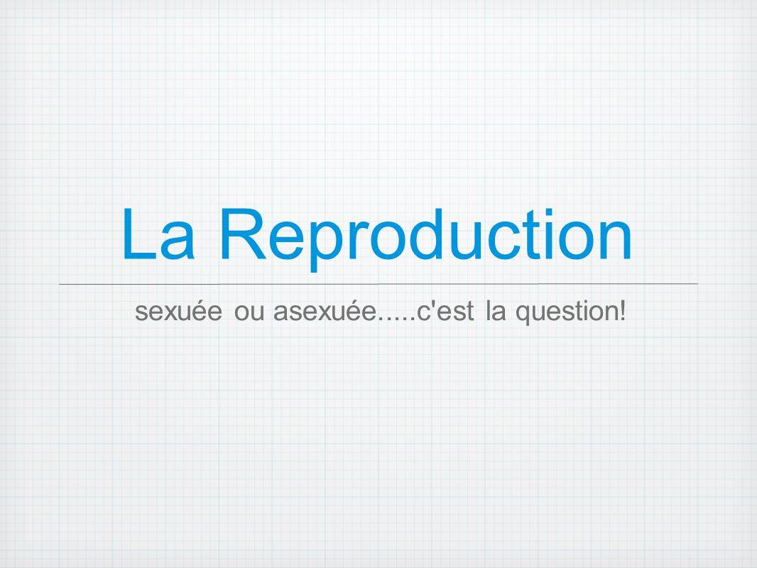 Reproduction Sexuée Deux individus produisent des descendants dont les gènes proviennent d une combinaison des deux parents =