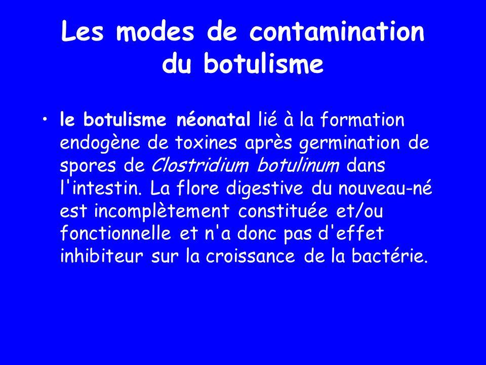 le botulisme néonatal lié à la formation endogène de toxines après germination de spores de Clostridium botulinum dans l'intestin. La flore digestive