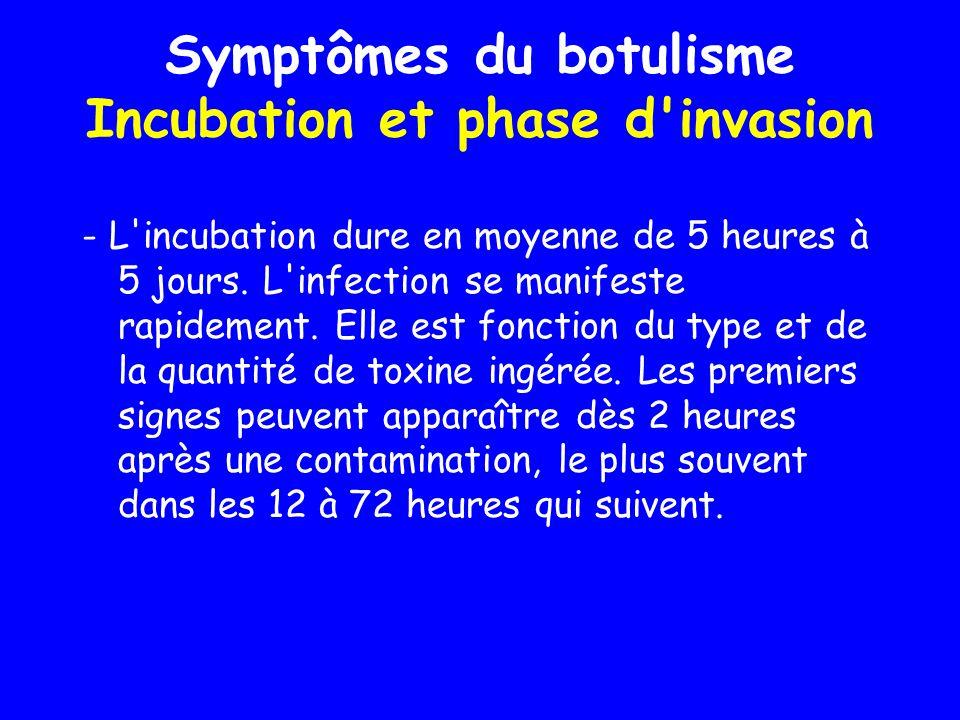 Symptômes du botulisme Incubation et phase d'invasion - L'incubation dure en moyenne de 5 heures à 5 jours. L'infection se manifeste rapidement. Elle