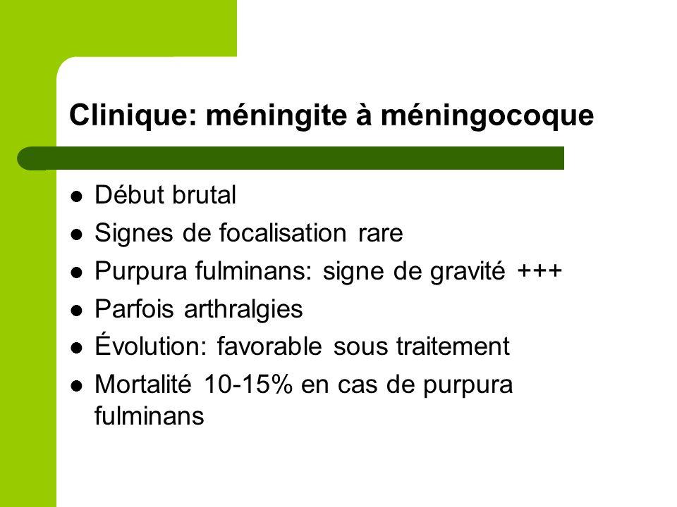 Clinique: méningite à pneumocoque Se rencontre à tout âge Début brutal Purpura rare Formes comateuses fréquentes = mauvais pronostic Mortalité importante 30% Porte d'entrée ORL ou brèche ostéoméningée à rechercher systématique
