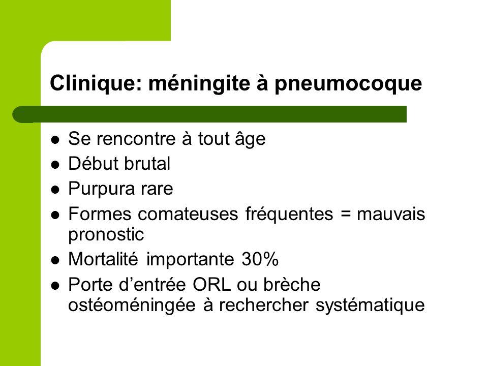 Clinique: méningite à Listéria Début progressif en quelques jours chez >50ans Signes d'atteinte du tronc cérébral: paralysie d'1 ou plx nerfs crâniens Hyperleucocytose à PNN Evolution souvent favorable sous TTT