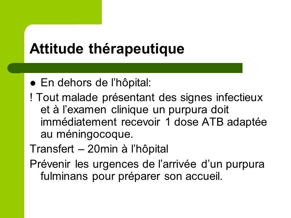 Prévention Méningocoque: prophylaxie de l'entourage, vaccin contre les sérogroupes A C Y W13.