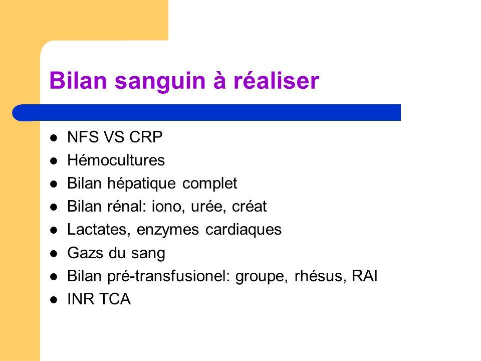 Bilan sanguin à réaliser NFS VS CRP Hémocultures Bilan hépatique complet Bilan rénal: iono, urée, créat Lactates, enzymes cardiaques Gazs du sang Bila
