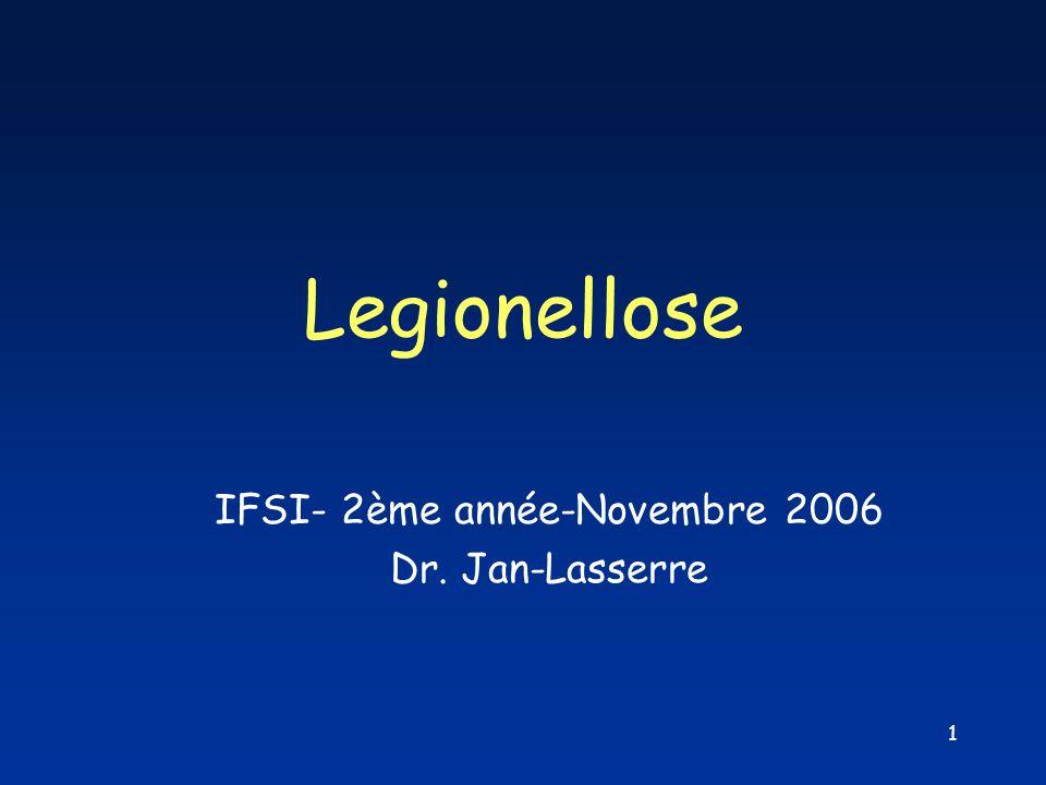 1 Legionellose IFSI- 2ème année-Novembre 2006 Dr. Jan-Lasserre
