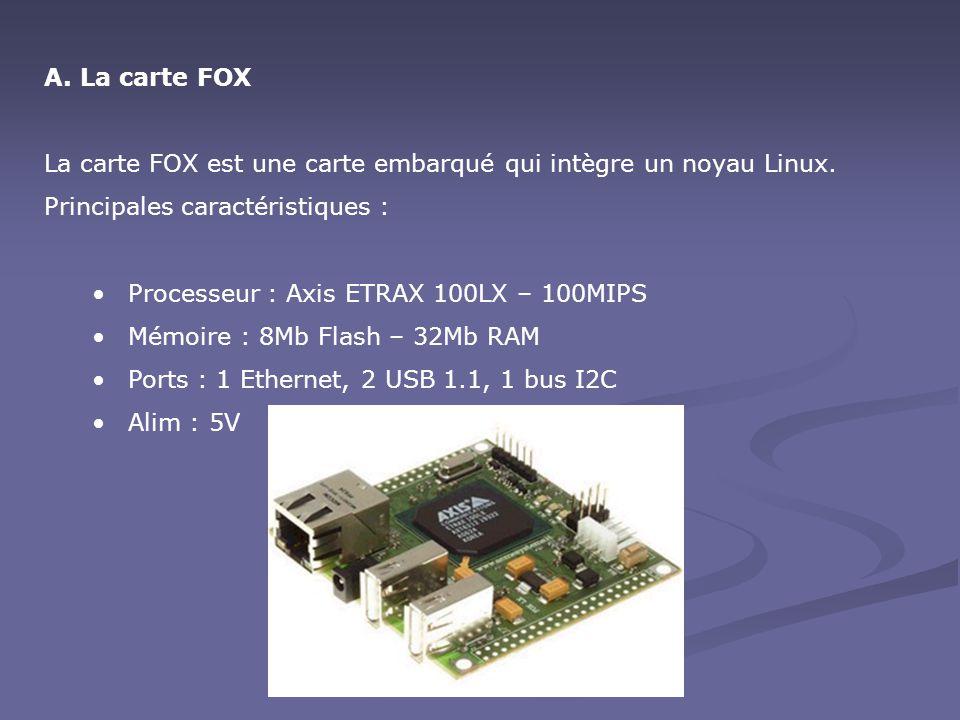 A.La carte FOX La carte FOX est une carte embarqué qui intègre un noyau Linux. Principales caractéristiques : Processeur : Axis ETRAX 100LX – 100MIPS