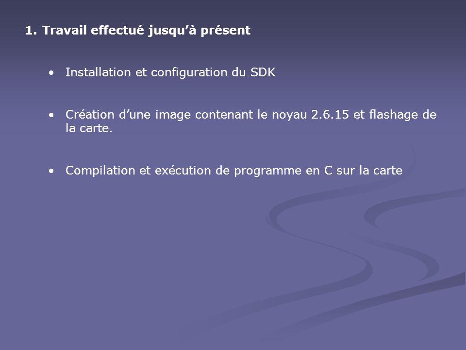 1.Travail effectué jusqu'à présent Installation et configuration du SDK Création d'une image contenant le noyau 2.6.15 et flashage de la carte.