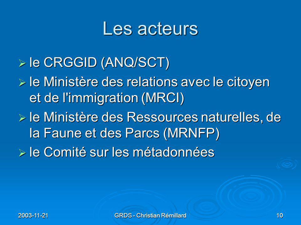 2003-11-21GRDS - Christian Rémillard10 Les acteurs  le CRGGID (ANQ/SCT)  le Ministère des relations avec le citoyen et de l immigration (MRCI)  le Ministère des Ressources naturelles, de la Faune et des Parcs (MRNFP)  le Comité sur les métadonnées