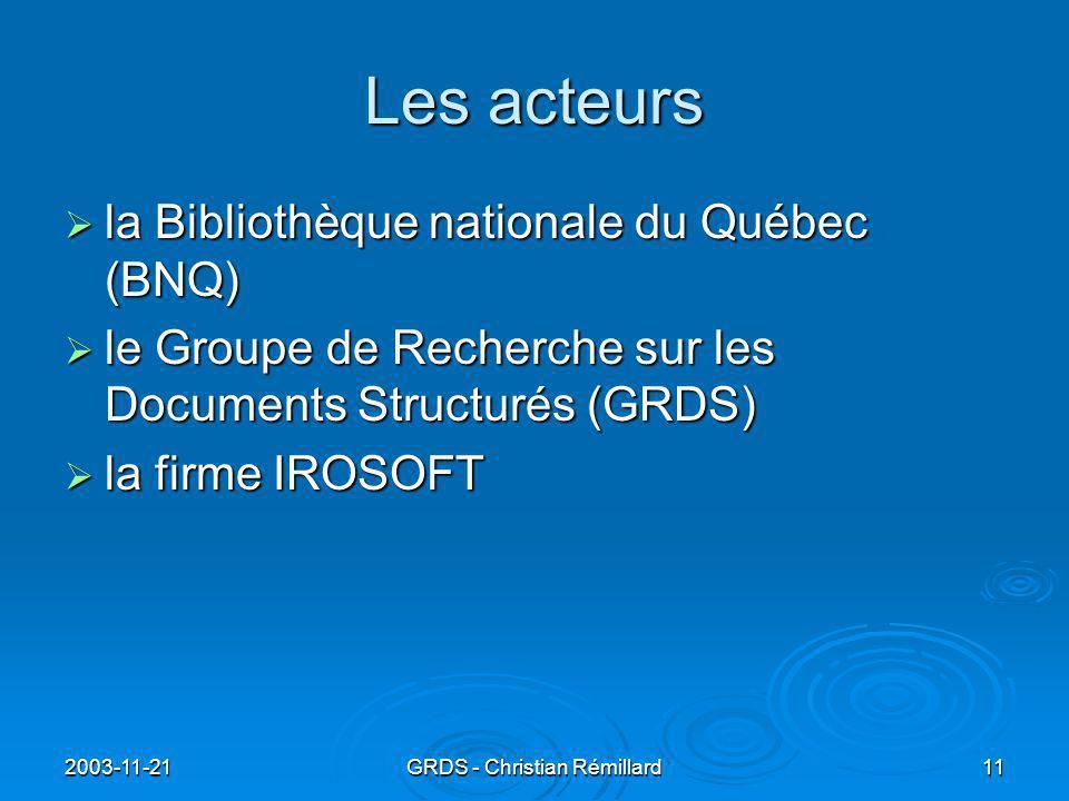 2003-11-21GRDS - Christian Rémillard11 Les acteurs  la Bibliothèque nationale du Québec (BNQ)  le Groupe de Recherche sur les Documents Structurés (GRDS)  la firme IROSOFT