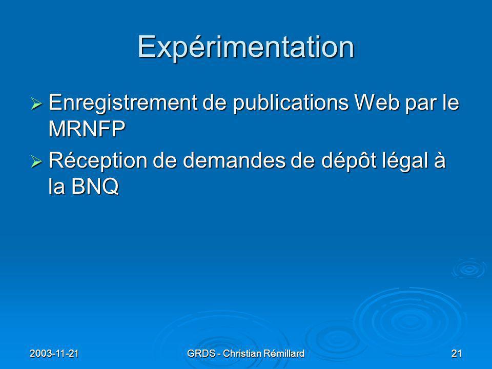 2003-11-21GRDS - Christian Rémillard21 Expérimentation  Enregistrement de publications Web par le MRNFP  Réception de demandes de dépôt légal à la BNQ