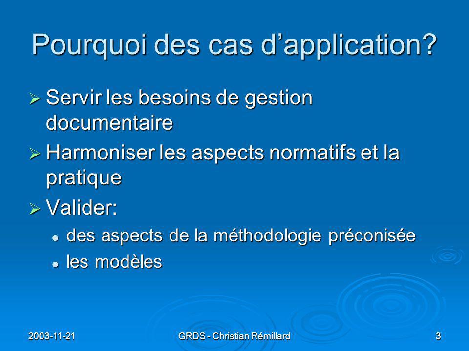 2003-11-21GRDS - Christian Rémillard3 Pourquoi des cas d'application.