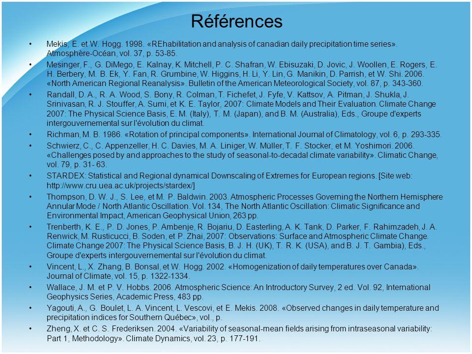Références Mekis, E. et W. Hogg. 1998. «REhabilitation and analysis of canadian daily precipitation time series». Atmosphère-Océan, vol. 37, p. 53-85.