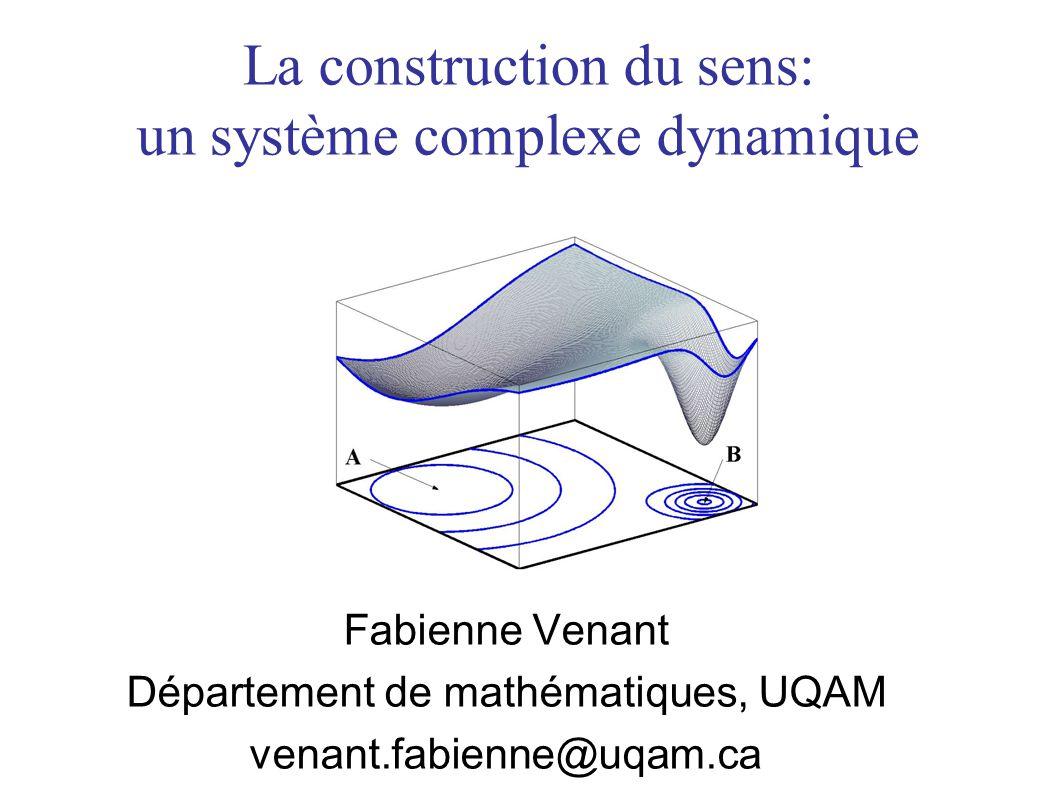 La construction du sens: un système complexe dynamique Fabienne Venant Département de mathématiques, UQAM venant.fabienne@uqam.ca