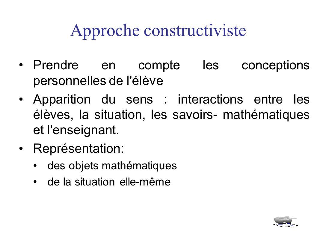 Approche constructiviste Prendre en compte les conceptions personnelles de l élève Apparition du sens : interactions entre les élèves, la situation, les savoirs- mathématiques et l enseignant.