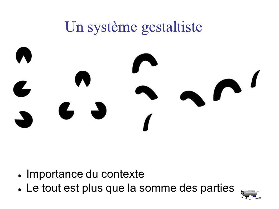 Un système gestaltiste Importance du contexte Le tout est plus que la somme des parties 5