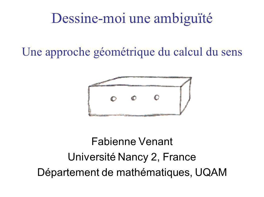 Dessine-moi une ambiguïté Une approche géométrique du calcul du sens Fabienne Venant Université Nancy 2, France Département de mathématiques, UQAM